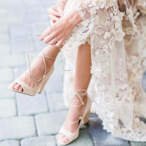 Women's Beige Strappy Chunky Bridal Heels Pumps