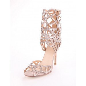 Women' s Blush Hollow Out Rhinestone Bridal Sandals