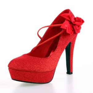Women's Red Round Toe  Stiletto Heels Pumps Wedding Shoes