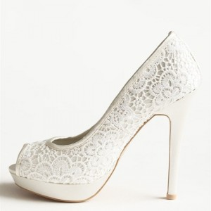 Ivory Bridal Shoes Lace Heels Peep Toe Platform Pumps for Wedding
