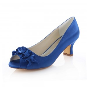 Cobalt Blue Satin Low Heel Wedding Shoes Peep Toe Ruffle Pumps
