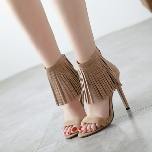Women's Brown Open Toe Tassels Fringe Suede Stiletto Heels Sandals