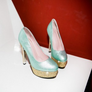 Cyan Sparkly Heels Glitter Platform Stiletto Heel Pumps for Party