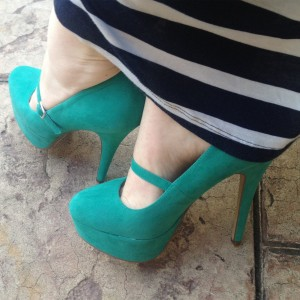 Women's Teal Mary Jane Pumps Stiletto Heels Platform Shoes