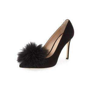 Black Pom Pom Shoes Pointy Toe Stiletto Heel Suede Pumps