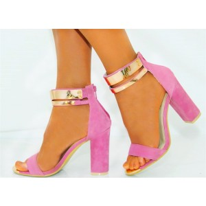 Women's Pink Metal Chains Ankle Strap Sandals Chunky Heels