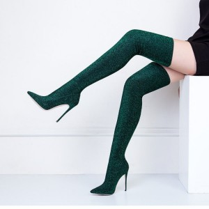 Green Thigh High Heel Boots Pointy Toe Elastic Stiletto Heel Shoes