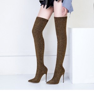Brown Thigh High Heel Boots Elastic Stiletto Heel Long Boots