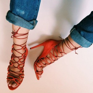 Women's Orange Lace up Stiletto Heels Strappy Sandals