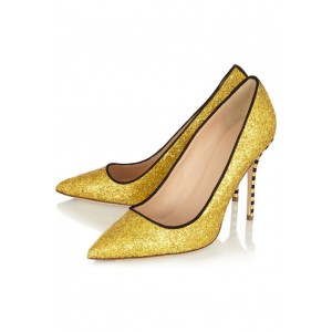 Champagne Wedding Heels Glitter Shoes for Bride