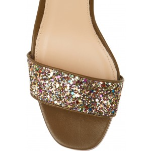 Women's Brownish Glitter Ankle Strap Sandals Block Heels Colorful Dots