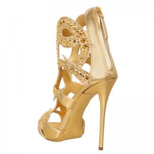 Golden Caged Upper Open Toe Stiletto Heel Sandals