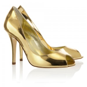 Gold Metallic Heels Peep Toe Stiletto Heel Pumps for Party