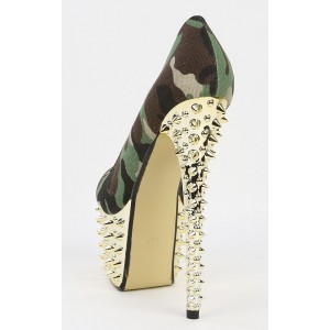 Women's Army Green Rivet  Stiletto 4 Inch Heels Platform Pump Heels