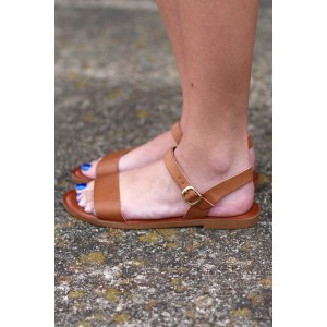 Tan Sandals Open Toe Summer Flat Sandals