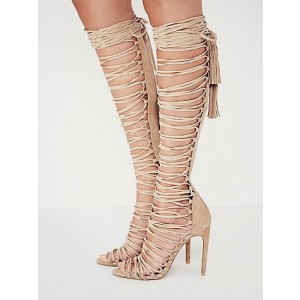 Nude Strappy Sandals Stiletto Heels for Sexy Ladies