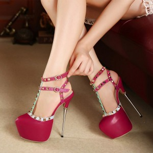 Magenta T Strap Pumps Rivets Sequined Almond Toe Platform Heels