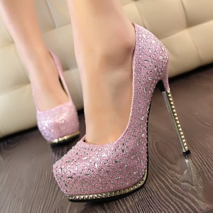 Pink Rhinestone Heels Platform Pumps for Prom