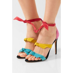 Women's Multicolored Ankle Strap Sandals Stiletto Heels with Bow