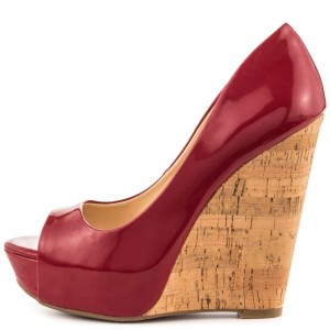 Dark Red Cork Wedges Patent Leather Peep Toe Platform Pumps
