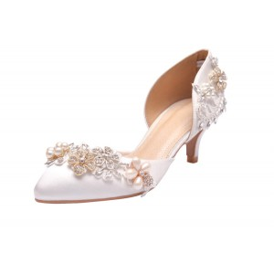 Women's White Low-cut Uppers Pearl Pointed Toe Kitten Heels Wedding Shoes