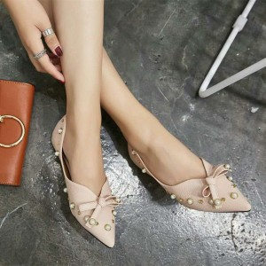 Women's Nude Pointy Toe Flats Pumps Decorated with Pearl and Bow