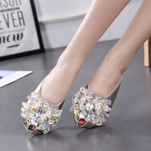 Women's Silver with Rhinestone Key Hole Mules Summer Sandals