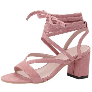 Light Pink Strappy Sandals Suede Strappy Chunky Heels for Women