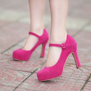 Rose Red Mary Jane Pumps Platform Chunky Heels Pumps