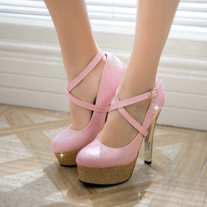 Pink Sparkly Heels Cross Strap Glitter Platform Stiletto Heel Pumps for Party