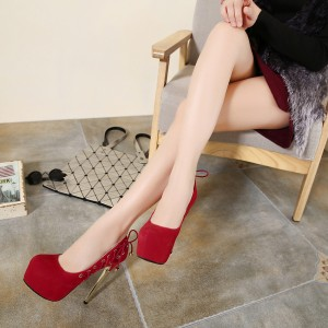 Women's Red Stiletto Heels Pointy Toe Lace Up Platform Pumps