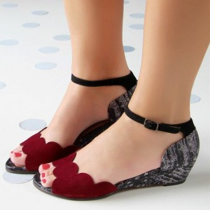Women's Red  Ankle Strap Sandals Buckle Wedge Comfortable Flats
