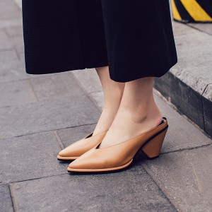 Women's Brown Pointy Toe Chunky Heel Sandals Vintage Mules