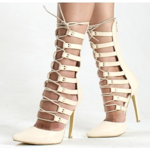 Women's Beige Pointed Toe Strappy Stiletto Heels Pumps