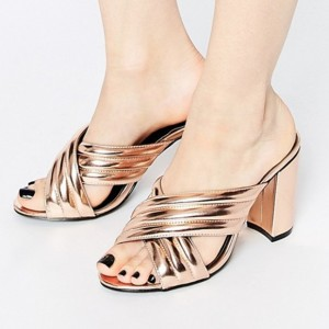Golden Cross Strap Summer Sandals Peep Toe Chunky Heel Mules