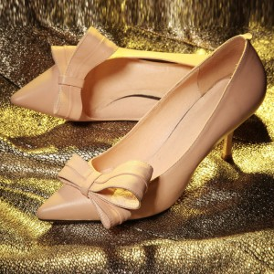 Nude Wedding Shoes Stiletto Heel Bridesmaid Pumps Pointy Toe Bow Heels