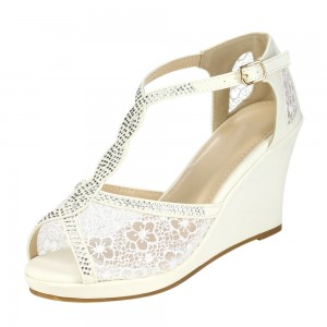Women's White Lace T Strap Wedge Heels Sandals Wedding Shoes