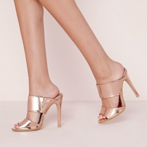 Metallic Mule Heels Rose Gold Sandals Peep Toe Stiletto Heel Sandals