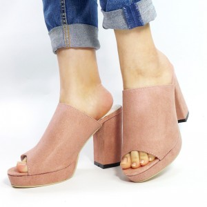 Women's Pink Peep Toe Chunky Heels Comfortable Mules Sandals