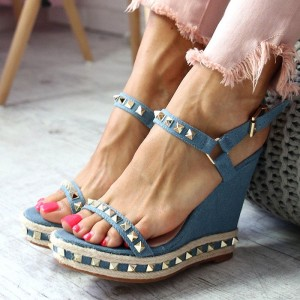 Women's Blue Rivets Ankle Strap Open Toe Wedge Sandals