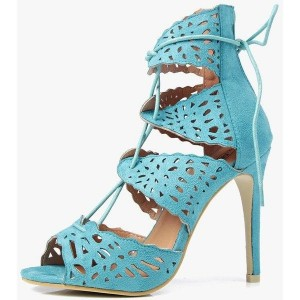 Women's Blue Peep Toe Stiletto Heels Lace-up Hollow Out Sandals
