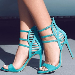 Women's Cyan Open Toe Stiletto Heels Triple Ankle Strap Sandals