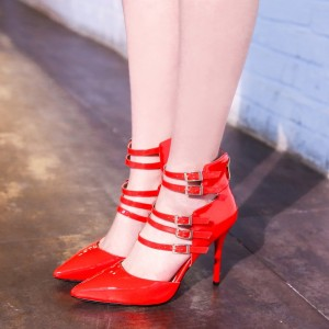 Women's Red Buckles Pointy Toe Stiletto Strappy Heels Pumps
