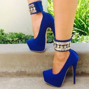 Women's Royal Blue Rhinestone Ankle Strap Heels Suede Platform Pumps