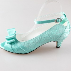Women's Turquoise Wedding Heels Bow Kitten Heel Ankle Strap Pumps