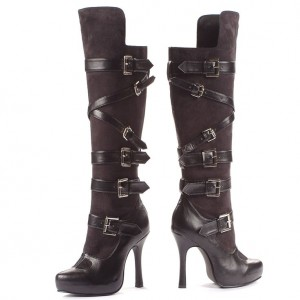 Cat Woman Black Suede Buckles Stiletto Heels Knee High Boots for Halloween