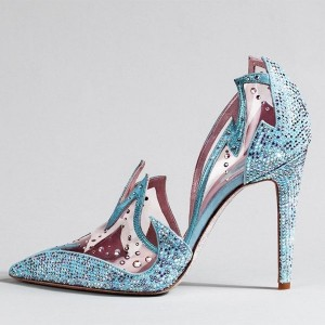 Frozen Elsa's Blue Pointy Toe Rhinestone Clear Stiletto Heel Pumps for Halloween