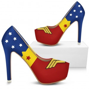 Wonder Women Floral Platform Stiletto Heels Pumps for Halloween