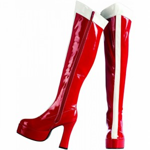 Wonder Woman's Coral Red White Stripe Patent Leather Platform Chunky Heel Knee-high Boots