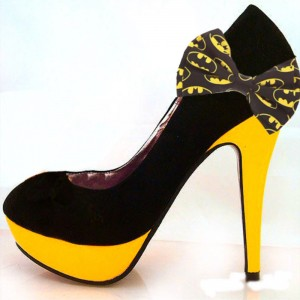 Black and Yellow Suede Bat Girl Chunky Heels Halloween Platform Pumps